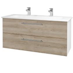 Dřevojas - Koupelnová skříň GIO SZZ2 120 - N01 Bílá lesk / Úchytka T02 / D17 Colorado (202965BU)