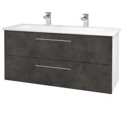Dřevojas - Koupelnová skříň GIO SZZ2 120 - N01 Bílá lesk / Úchytka T02 / D16 Beton tmavý (202958BU)