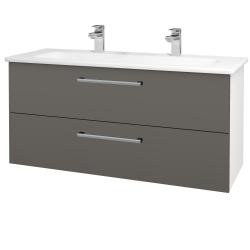 Dřevojas - Koupelnová skříň GIO SZZ2 120 - N01 Bílá lesk / Úchytka T03 / N06 Lava (203009CU)