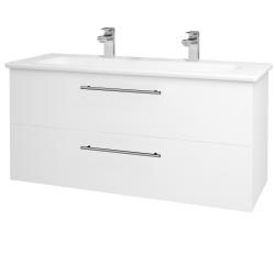 Dřevojas - Koupelnová skříň GIO SZZ2 120 - N01 Bílá lesk / Úchytka T02 / M01 Bílá mat (202972BU)