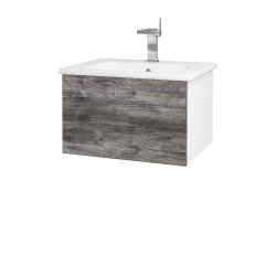 Dřevojas - Koupelnová skříň VARIANTE SZZ 60 (umyvadlo Euphoria) - N01 Bílá lesk / D10 Borovice Jackson (188290)