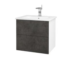 Dřevojas - Koupelnová skříň VARIANTE SZZ2 60 (umyvadlo Euphoria) - N01 Bílá lesk / D16 Beton tmavý (188535)