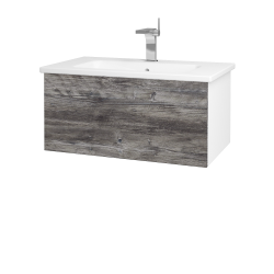 Dřevojas - Koupelnová skříň VARIANTE SZZ 80 (umyvadlo Euphoria) - N01 Bílá lesk / D10 Borovice Jackson (188719)