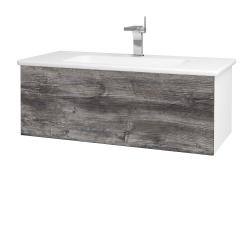 Dřevojas - Koupelnová skříň VARIANTE SZZ 100 (umyvadlo Euphoria) - N01 Bílá lesk / D10 Borovice Jackson (190019)