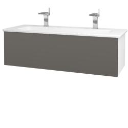 Dřevojas - Koupelnová skříň VARIANTE SZZ 120 (umyvadlo Euphoria) - N01 Bílá lesk / N06 Lava (190484U)