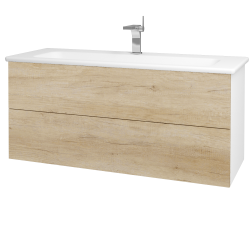 Dřevojas - Koupelnová skříň VARIANTE SZZ2 120 (umyvadlo Euphoria) - N01 Bílá lesk / D15 Nebraska (190620)