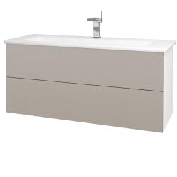 Dřevojas - Koupelnová skříň VARIANTE SZZ2 120 (umyvadlo Euphoria) - N01 Bílá lesk / N07 Stone (190699)