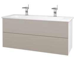 Dřevojas - Koupelnová skříň VARIANTE SZZ2 120 (umyvadlo Euphoria) - N01 Bílá lesk / N07 Stone (190699U)
