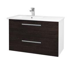 Dřevojas - Koupelnová skříň GIO SZZ2 90 - N01 Bílá lesk / Úchytka T03 / D08 Wenge (202545C)