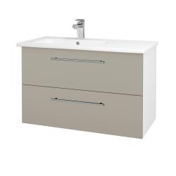 Dřevojas - Koupelnová skříň GIO SZZ2 90 - N01 Bílá lesk / Úchytka T02 / M05 Béžová mat (202668B)