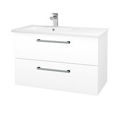 Dřevojas - Koupelnová skříň GIO SZZ2 90 - N01 Bílá lesk / Úchytka T03 / M01 Bílá mat (202651C)