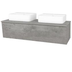 Dřevojas - Koupelnová skříň INVENCE SZZ 125 (2 umyvadla Joy 3) - D01 Beton / D01 Beton (185879)