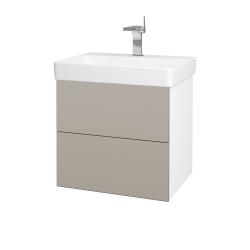 Dřevojas - Koupelnová skříň VARIANTE SZZ2 60 - N01 Bílá lesk / N07 Stone (194697)