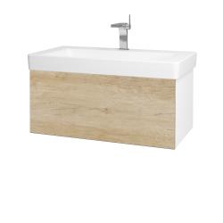 Dřevojas - Koupelnová skříň VARIANTE SZZ 85 - N01 Bílá lesk / D15 Nebraska (195281)