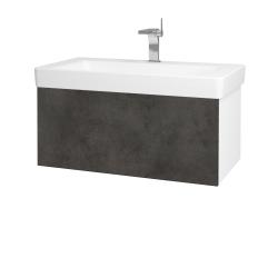 Dřevojas - Koupelnová skříň VARIANTE SZZ 85 - N01 Bílá lesk / D16 Beton tmavý (195298)