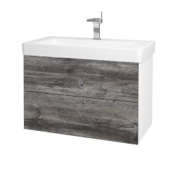 Dřevojas - Koupelnová skříň VARIANTE SZZ2 85 - N01 Bílá lesk / D10 Borovice Jackson (195427)
