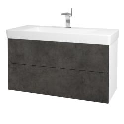 Dřevojas - Koupelnová skříň VARIANTE SZZ2 105 - N01 Bílá lesk / D16 Beton tmavý (195847)