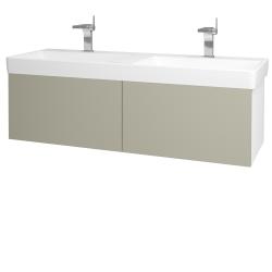Dřevojas - Koupelnová skříň VARIANTE SZZ2 130 - N01 Bílá lesk / M05 Béžová mat (196073)