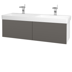 Dřevojas - Koupelnová skříň VARIANTE SZZ2 130 - N01 Bílá lesk / N06 Lava (196097)