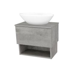 Dřevojas - Koupelnová skříň INVENCE SZZO 65 (umyvadlo Triumph) - D01 Beton / D01 Beton (178093)