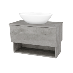 Dřevojas - Koupelnová skříň INVENCE SZZO 80 (umyvadlo Triumph) - D01 Beton / D01 Beton (181154)