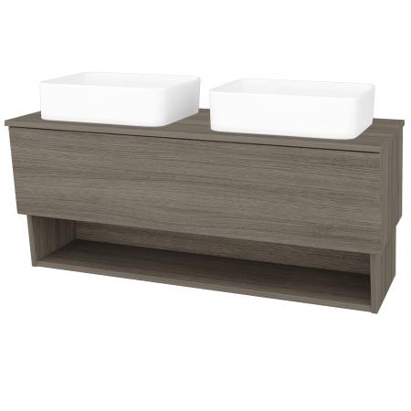 Dřevojas - Koupelnová skříň INVENCE SZZO 125 (2 umyvadla Joy) - D03 Cafe / D03 Cafe (184445)