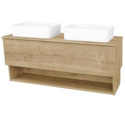 Dřevojas - Koupelnová skříň INVENCE SZZO 125 (2 umyvadla Joy) - D09 Arlington / D09 Arlington (184490)