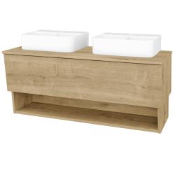 Dřevojas - Koupelnová skříň INVENCE SZZO 125 (2 umyvadla Joy 3) - D09 Arlington / D09 Arlington (185657)