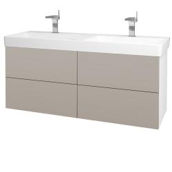 Dřevojas - Koupelnová skříň VARIANTE SZZ4 130 - N01 Bílá lesk / N07 Stone (196288)