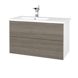 Dřevojas - Koupelnová skříň VARIANTE SZZ2 90 (umyvadlo Euphoria) - N01 Bílá lesk / D03 Cafe (189259)