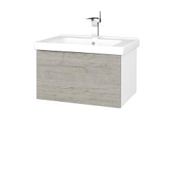 Dřevojas - Koupelnová skříň VARIANTE SZZ 65 (umyvadlo Harmonia) - N01 Bílá lesk / D05 Oregon (190972)