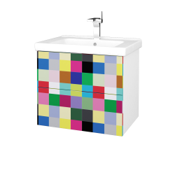 Dřevojas - Koupelnová skříň VARIANTE SZZ2 65 (umyvadlo Harmonia) - N01 Bílá lesk / IND Individual (191511)