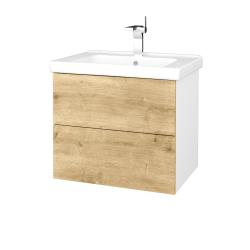 Dřevojas - Koupelnová skříň VARIANTE SZZ2 65 (umyvadlo Harmonia) - N01 Bílá lesk / D09 Arlington (191450)