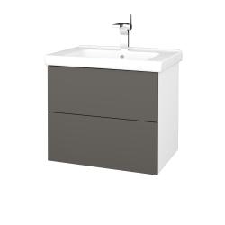 Dřevojas - Koupelnová skříň VARIANTE SZZ2 65 (umyvadlo Harmonia) - N01 Bílá lesk / N06 Lava (191580)