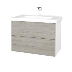 Dřevojas - Koupelnová skříň VARIANTE SZZ2 80 (umyvadlo Harmonia) - N01 Bílá lesk / D05 Oregon (192327)