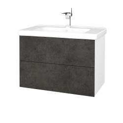 Dřevojas - Koupelnová skříň VARIANTE SZZ2 80 (umyvadlo Harmonia) - N01 Bílá lesk / D16 Beton tmavý (192396)