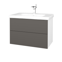 Dřevojas - Koupelnová skříň VARIANTE SZZ2 80 (umyvadlo Harmonia) - N01 Bílá lesk / N06 Lava (192488)