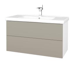 Dřevojas - Koupelnová skříň VARIANTE SZZ2 100 (umyvadlo Harmonia) - N01 Bílá lesk / L04 Béžová vysoký lesk (193348)