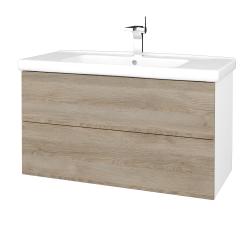 Dřevojas - Koupelnová skříň VARIANTE SZZ2 100 (umyvadlo Harmonia) - N01 Bílá lesk / D17 Colorado (193300)