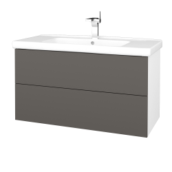 Dřevojas - Koupelnová skříň VARIANTE SZZ2 100 (umyvadlo Harmonia) - N01 Bílá lesk / N06 Lava (193386)