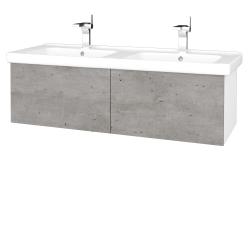 Dřevojas - Koupelnová skříň VARIANTE SZZ2 125 (umyvadlo Harmonia) - N01 Bílá lesk / D01 Beton (193638)