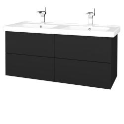 Dřevojas - Koupelnová skříň VARIANTE SZZ4 125 (umyvadlo Harmonia) - L03 Antracit vysoký lesk / L03 Antracit vysoký lesk (194048)