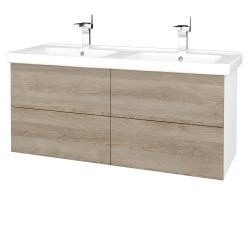 Dřevojas - Koupelnová skříň VARIANTE SZZ4 125 (umyvadlo Harmonia) - N01 Bílá lesk / D17 Colorado (194208)