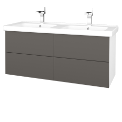Dřevojas - Koupelnová skříň VARIANTE SZZ4 125 (umyvadlo Harmonia) - N01 Bílá lesk / N06 Lava (194284)