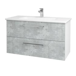Dřevojas - Koupelnová skříň GIO SZZ2 100 - N01 Bílá lesk / Úchytka T04 / D01 Beton (129606E)