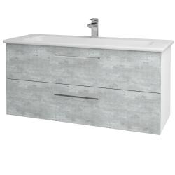 Dřevojas - Koupelnová skříň GIO SZZ2 120 - N01 Bílá lesk / Úchytka T04 / D01 Beton (129897E)