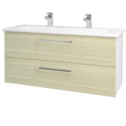 Dřevojas - Koupelnová skříň GIO SZZ2 120 - N01 Bílá lesk / Úchytka T04 / D04 Dub (129927EU)
