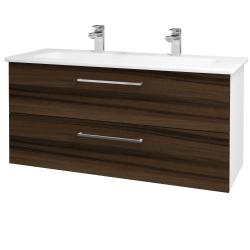Dřevojas - Koupelnová skříň GIO SZZ2 120 - N01 Bílá lesk / Úchytka T04 / D06 Ořech (129941EU)