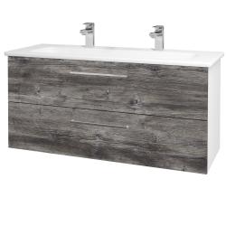 Dřevojas - Koupelnová skříň GIO SZZ2 120 - N01 Bílá lesk / Úchytka T04 / D10 Borovice Jackson (129972EU)