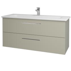 Dřevojas - Koupelnová skříň GIO SZZ2 120 - L04 Béžová vysoký lesk / Úchytka T04 / L04 Béžová vysoký lesk (130152E)